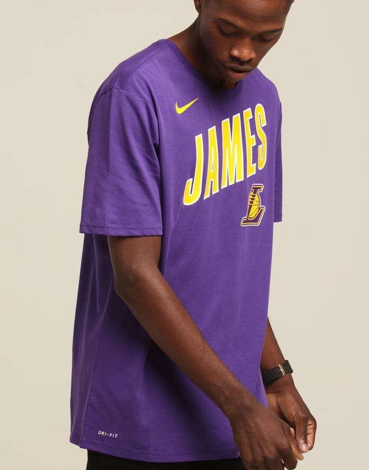8d73f2c41d5cce Nike Los Angeles Lakers LeBron James  23 Dri Fit Tee Purple – Culture Kings