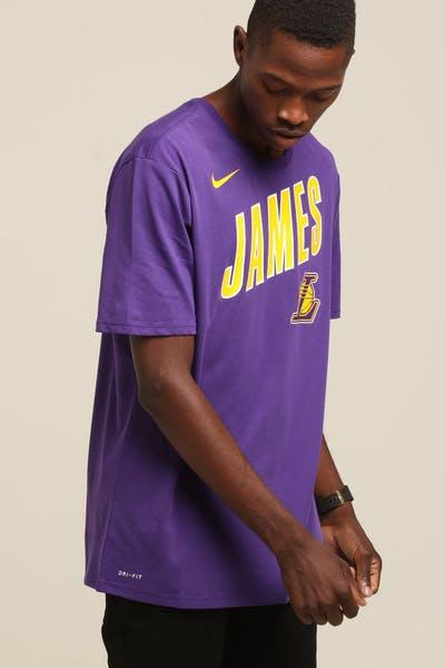 334f5056017 Nike Los Angeles Lakers LeBron James  23 Dri Fit Tee Purple