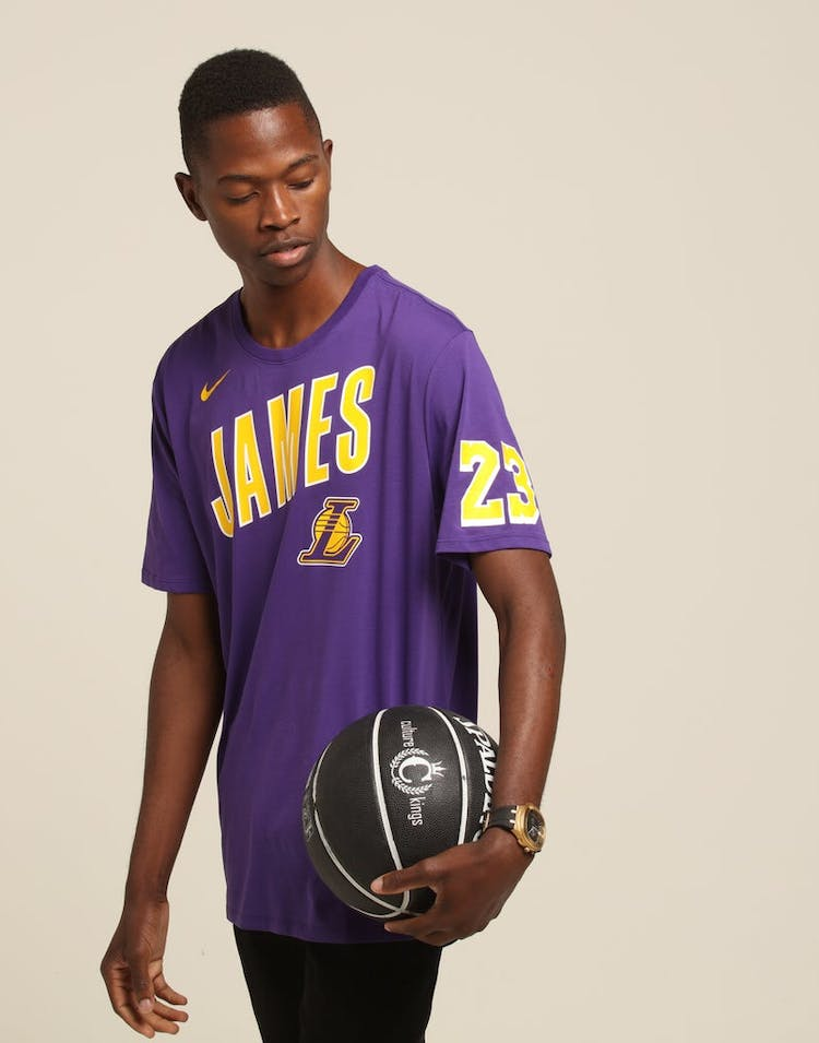 reputable site 3d92b 908e2 Nike Los Angeles Lakers LeBron James #23 Dri Fit Tee Purple