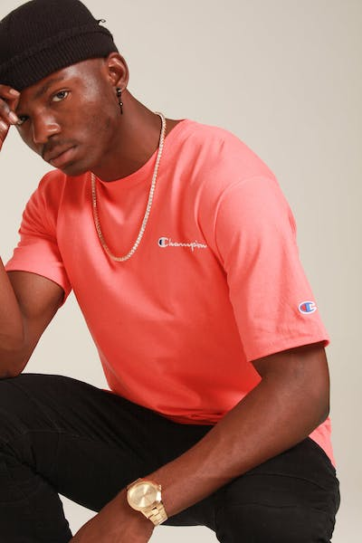 Champion Heritage Embroidered Script Tee Groovy Papaya