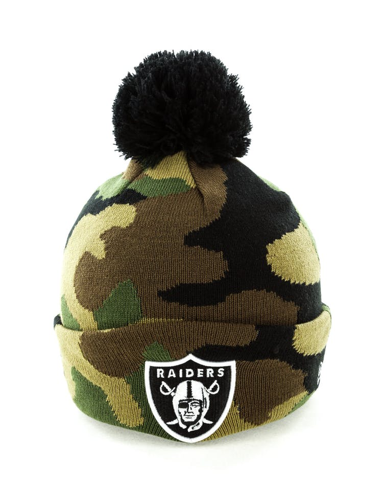 cb671596390 New Era Oakland Raiders Pom Knit Beanie Camo – Culture Kings