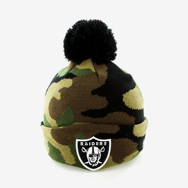 60bc5eca3b3 New Era Oakland Raiders Pom Knit Beanie Camo – Culture Kings