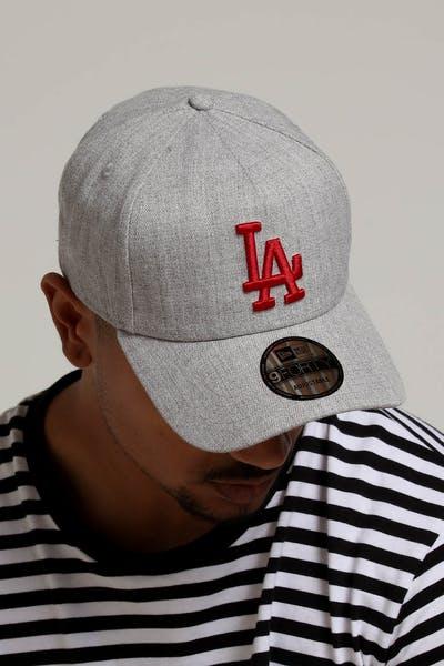 2ff4ce12b3cbb New Era Los Angeles Dodgers 9FORTY A-Frame Snapback Heather Grey Red