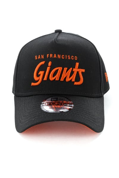 quality design 355a9 d6fe2 New Era San Francisco Giants Script 9FORTY A-Frame Snapback Black Orange