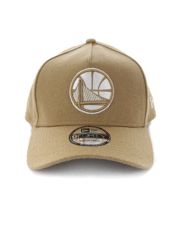 4d661f9b6f7937 New Era Golden State Warriors 9FORTY A-Frame Melton Snapback Camel –  Culture Kings