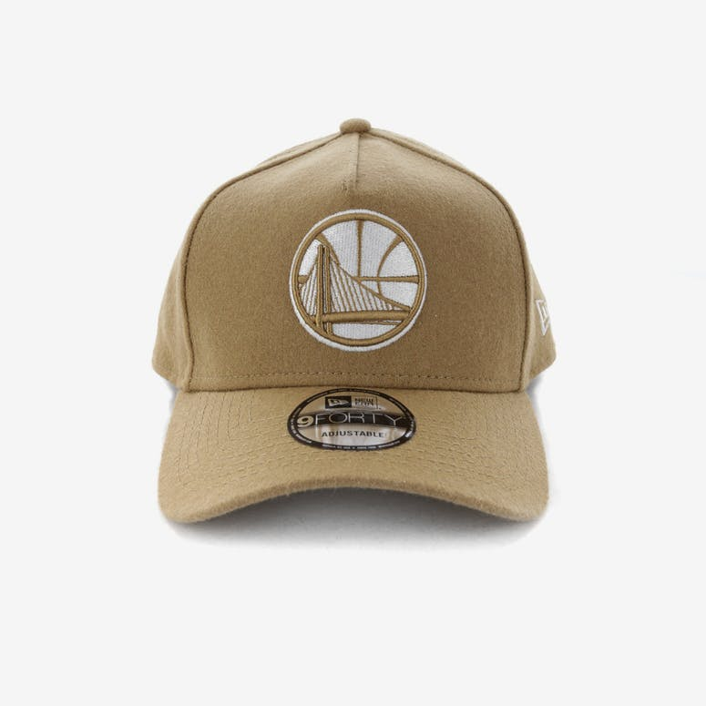 9140df3fc74 New Era Golden State Warriors 9FORTY A-Frame Melton Snapback Camel –  Culture Kings
