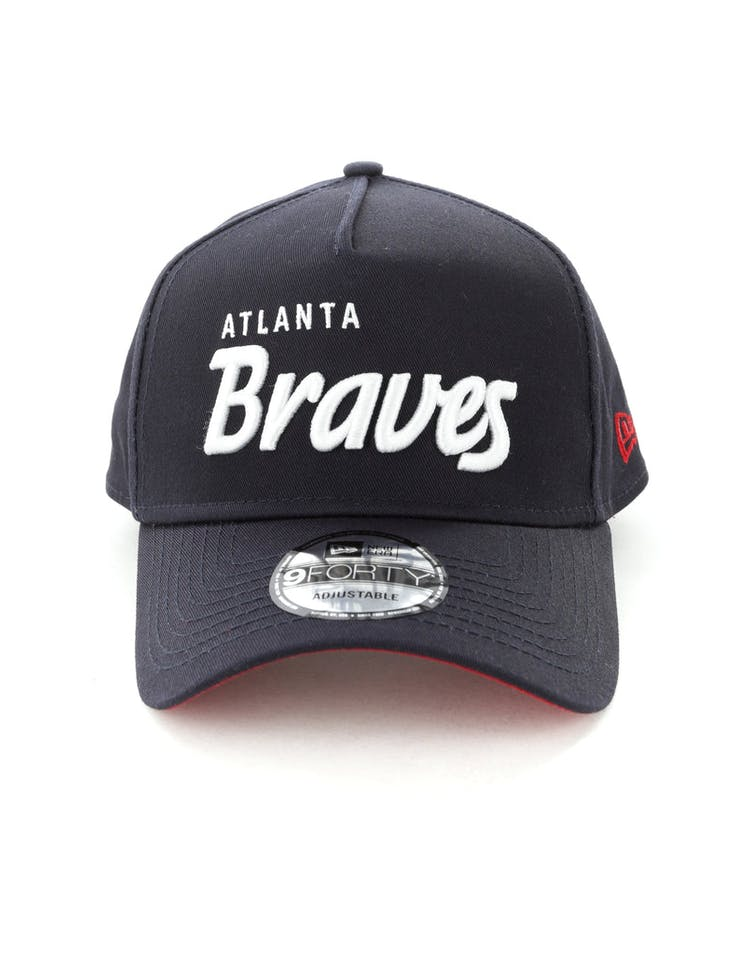3909a1d0 New Era Atlanta Braves Script 9FORTY A-Frame Snapback Navy/White – Culture  Kings