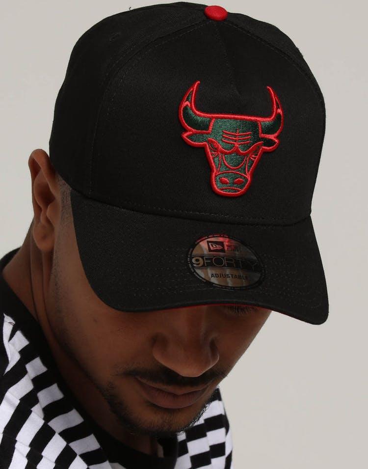 buy popular baee7 06bcb New Era Chicago Bulls 9FORTY A-Frame Snapback Black Green Red – Culture  Kings