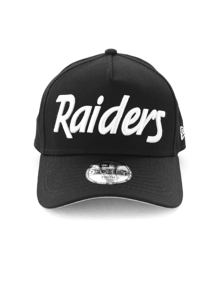 8bb9011a0 New Era Youth Raiders 940 Script 9FORTY A-Frame Snapback Black/White