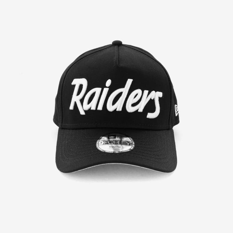 New Era Youth Raiders 940 Script 9FORTY A-Frame Snapback Black White –  Culture Kings c05a29f532a