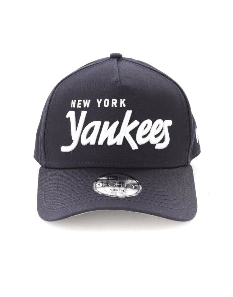 buy online 99c35 7b131 New Era Youth New York Yankees 940 Script 9FORTY A-Frame Snapback Navy –  Culture Kings