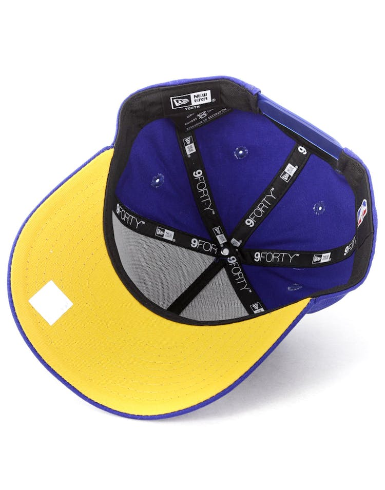 size 40 d1d65 18a22 New Era Youth Golden State Warriors 940 Script 9FORTY A-Frame Snapback Royal  Gold