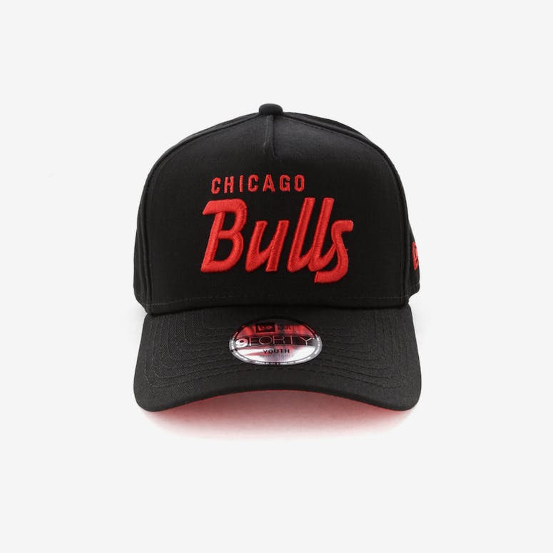 0be128b76d0 New Era Youth Chicago Bulls 940 Script 9FORTY A-Frame Snapback Black R –  Culture Kings