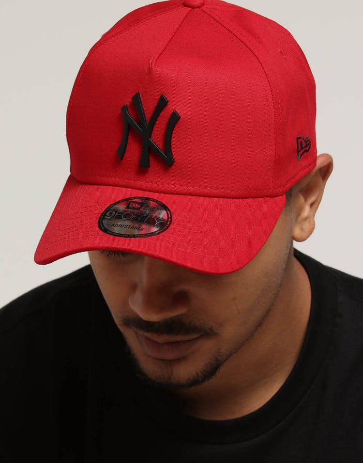 a4786bd086852 New Era New York Yankees 9FORTY A-Frame Metal Badge Snapback Scarlet B –  Culture Kings