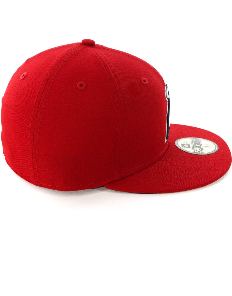 buy online d4cbd 3db2a New Era Los Angeles Angels 59FIFTY Fitted Scarlet Navy – Culture Kings