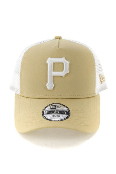 New Era Youth Pittsburgh Pirates 9FORTY A-Frame Trucker Snapback Nude/White