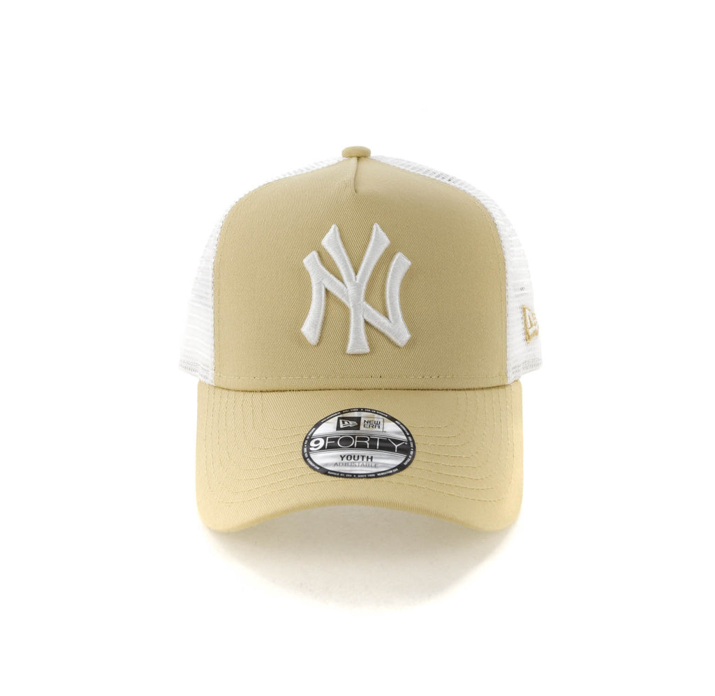 dedba9cae6685 ... free shipping new era youth new york yankees 9forty a frame trucker  snapback nude white d5cc0