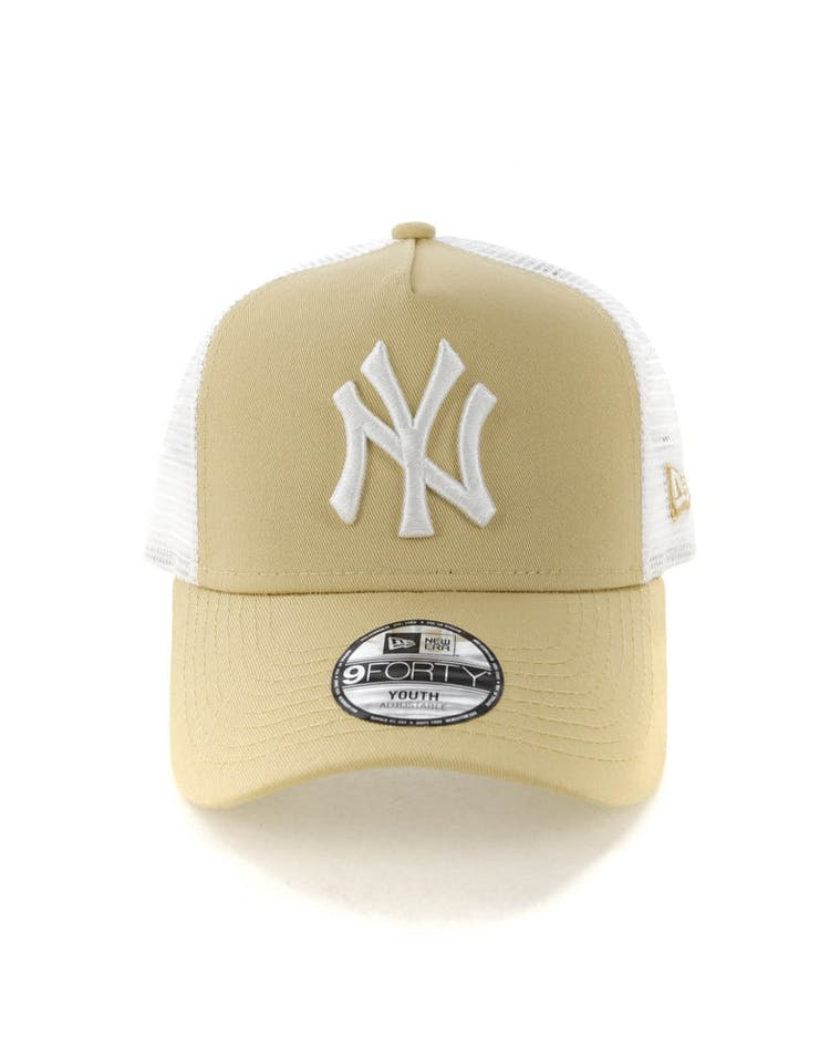 sports shoes 2e2cd a904f New Era Youth New York Yankees 9FORTY A-Frame Trucker Snapback Nude Wh –  Culture Kings