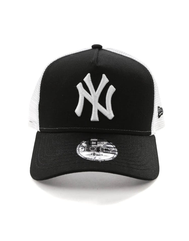 4d301464 New Era Youth New York Yankees 9FORTY A-Frame Trucker Snapback Black/W –  Asblrcr