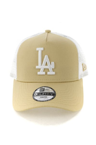 New Era Youth Los Angeles Dodgers 9FORTY A-Frame Trucker Snapback Nude/White