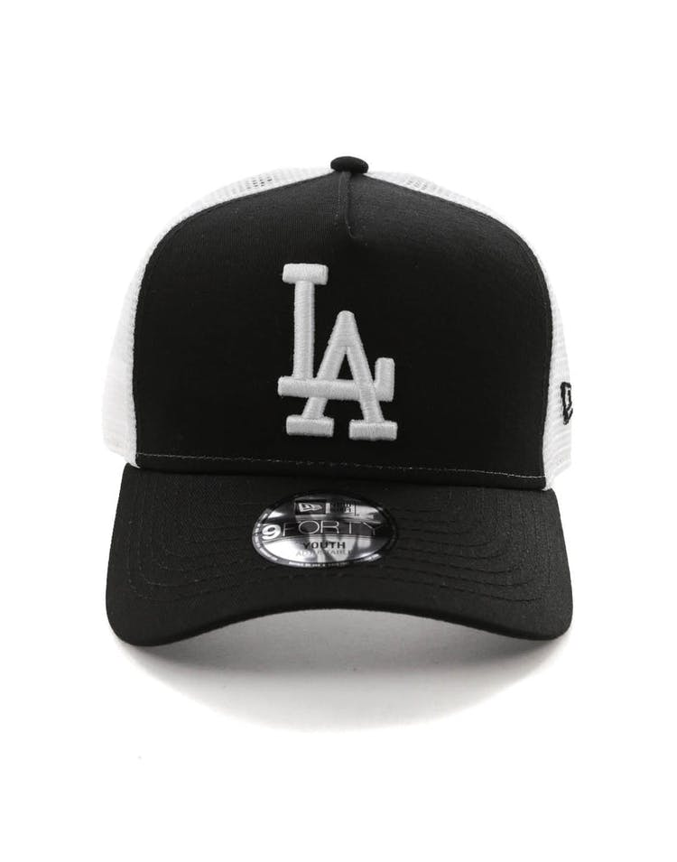 30de7461f8cd7 New Era Youth Los Angeles Dodgers 9FORTY A-Frame Trucker Snapback Blac –  Culture Kings