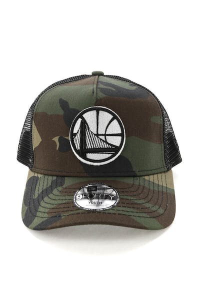 New Era Youth Golden State Warriors CK 9FORTY A-Frame Trucker Camo/Black