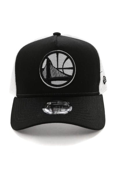 New Era Youth Golden State Warriors 9FORTY A-Frame Trucker Snapback Black/White