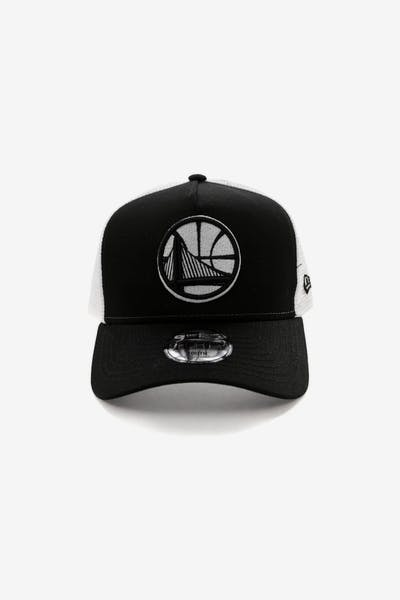 67a23a396b1 New Era Youth Golden State Warriors 9FORTY A-Frame Trucker Snapback  Black White