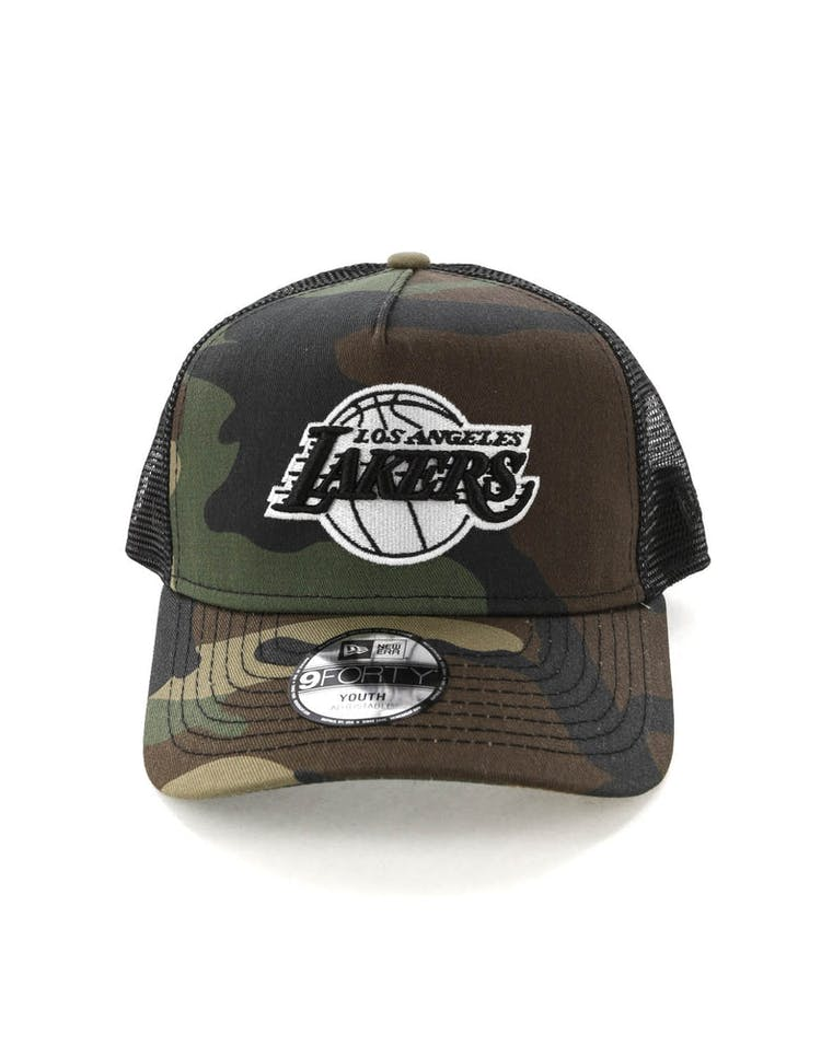 f3cc4e0bf9f014 New Era Youth Los Angeles Lakers CK 9FORTY A-Frame Trucker Camo/Black