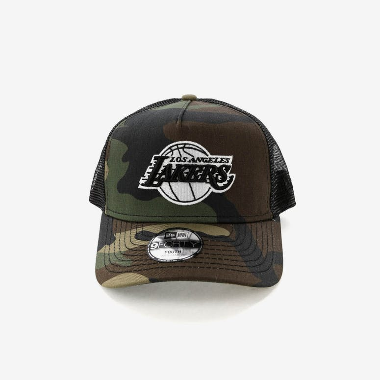 c68b311f01f New Era Youth Los Angeles Lakers CK 9FORTY A-Frame Trucker Camo Black –  Culture Kings