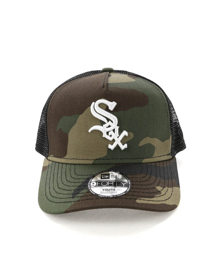 fa55f1437d8611 New Era Youth Chicago White Sox CK 9FORTY A-Frame Trucker Camo/Black –  Culture Kings