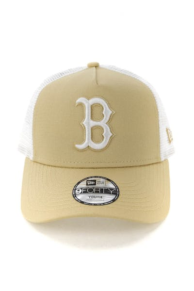 New Era Youth Boston Red Sox 9FORTY A-Frame Trucker Snapback Nude/White