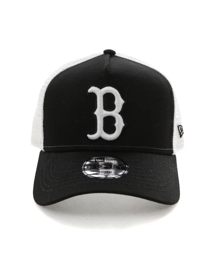 0b4c9556 New Era Youth Boston Red Sox 9FORTY A-Frame Trucker Snapback Black/Whi –  Asblrcr