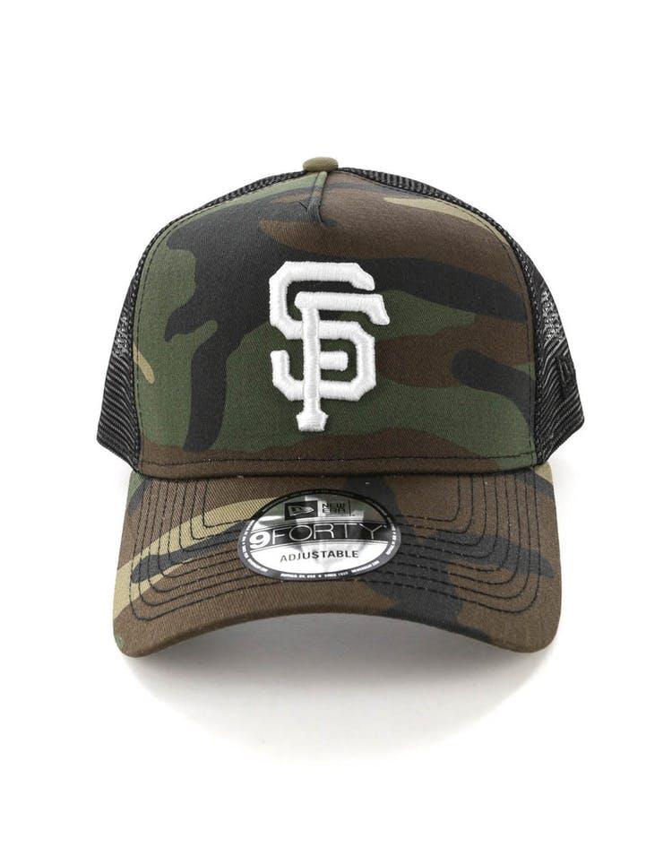 buy popular 03e03 b97ce New Era San Francisco Giants CK 9FORTY A-Frame Trucker Snapback Camo Black