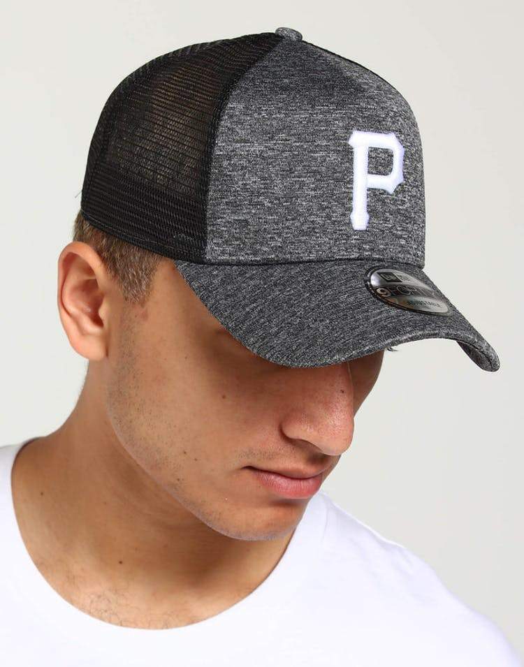 best service 1cc0c daf66 New Era Pittsburgh Pirates CK 9FORTY A-Frame Trucker Snapback Shadow Tech