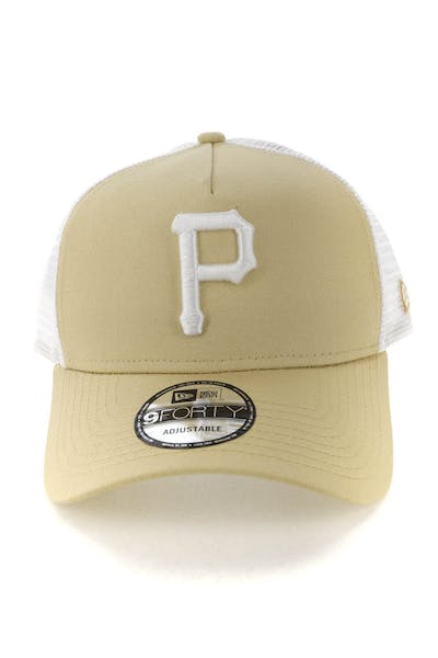 New Era Pittsburgh Pirates 9FORTY A-Frame Trucker Snapback Nude/White