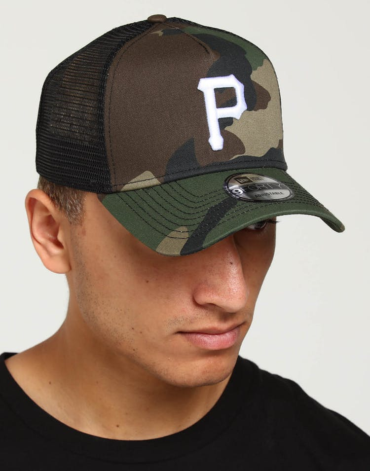 half off cb28d 8359f New Era Pittsburgh Pirates CK 9FORTY A-Frame Trucker Snapback Camo Bla – Culture  Kings