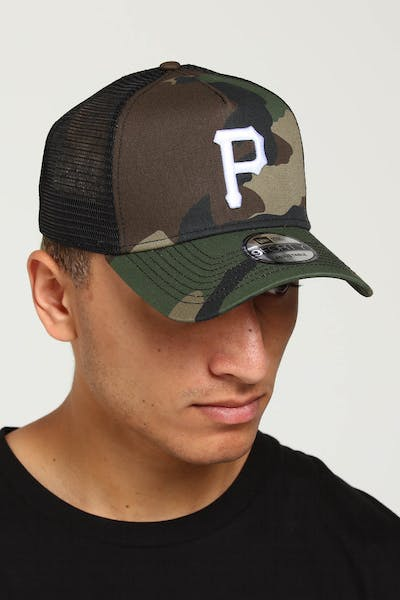 timeless design ffb1a 28e92 New Era Pittsburgh Pirates CK 9FORTY A-Frame Trucker Snapback Camo Black ...