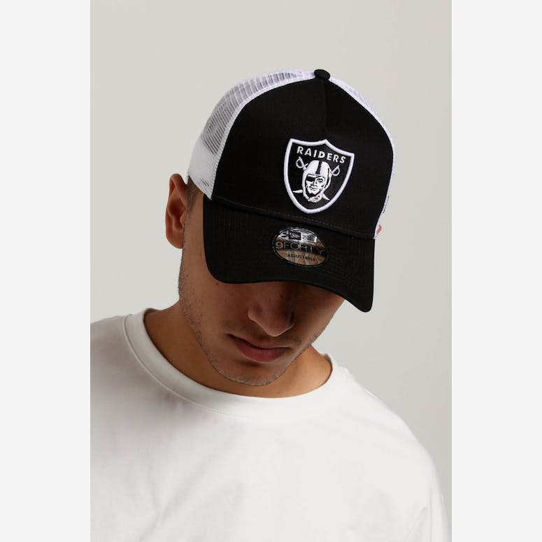 c23d23aa201 New Era Raiders 9FORTY A-Frame Trucker Snapback Black White – Culture Kings