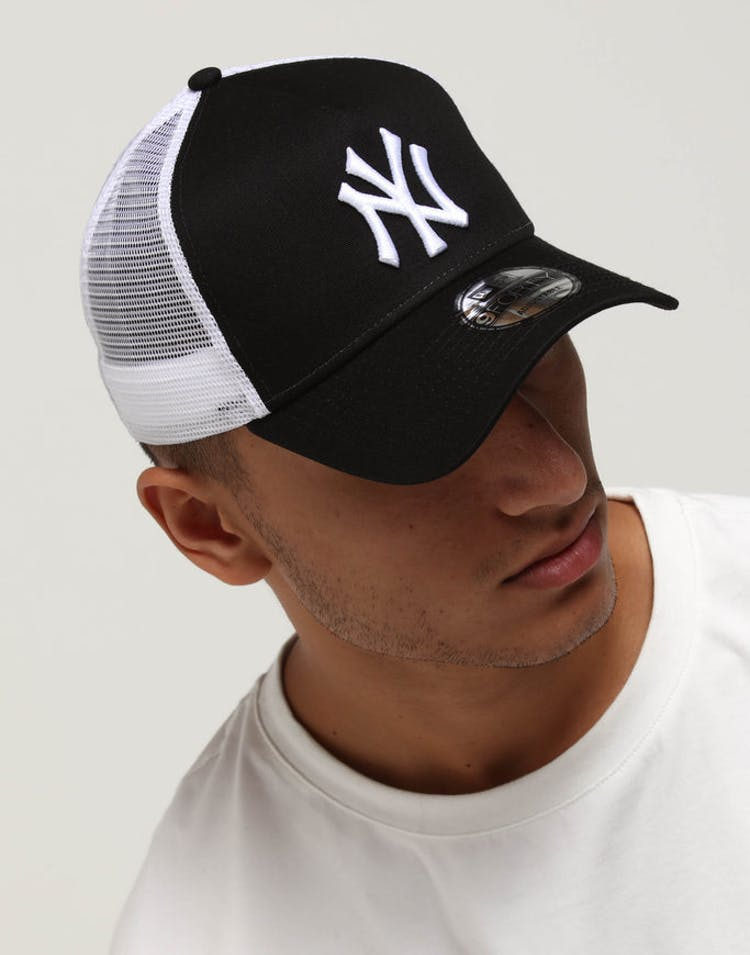 best loved 3febb 21e9b New Era New York Yankees 9FORTY A-Frame Trucker Snapback Black White –  Culture Kings