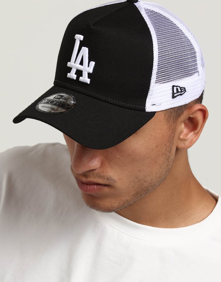 84cb88c5d1820 New Era Los Angeles Dodgers 9FORTY A-Frame Trucker Snapback Black White
