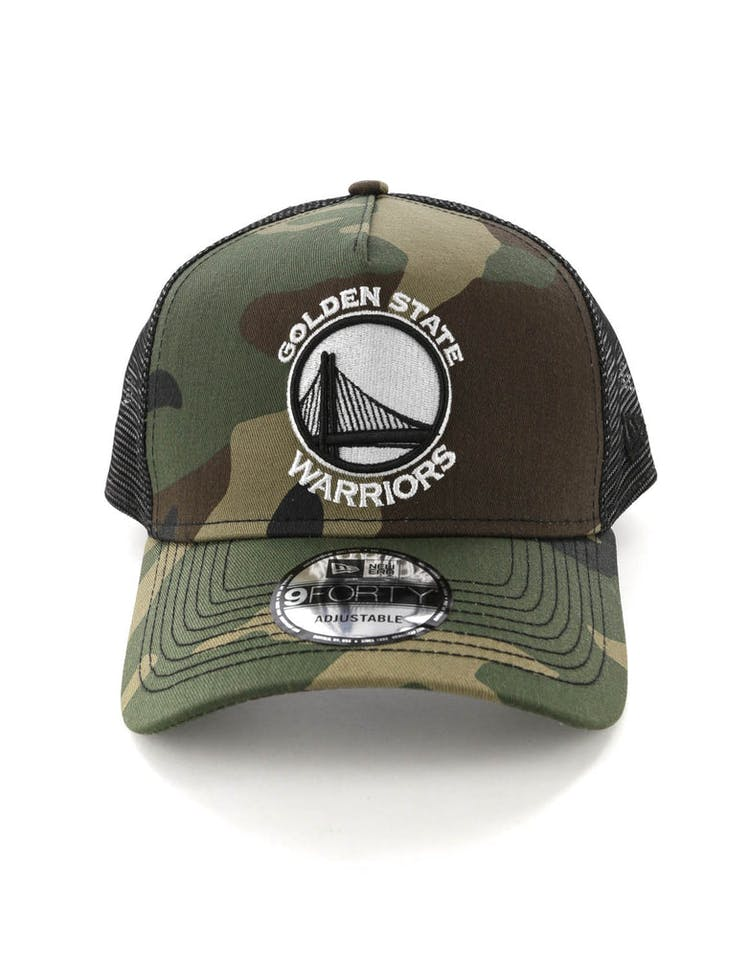 low priced b2673 113bd New Era Golden State Warriors CK 9FORTY A-Frame Trucker Snapback Camo Black