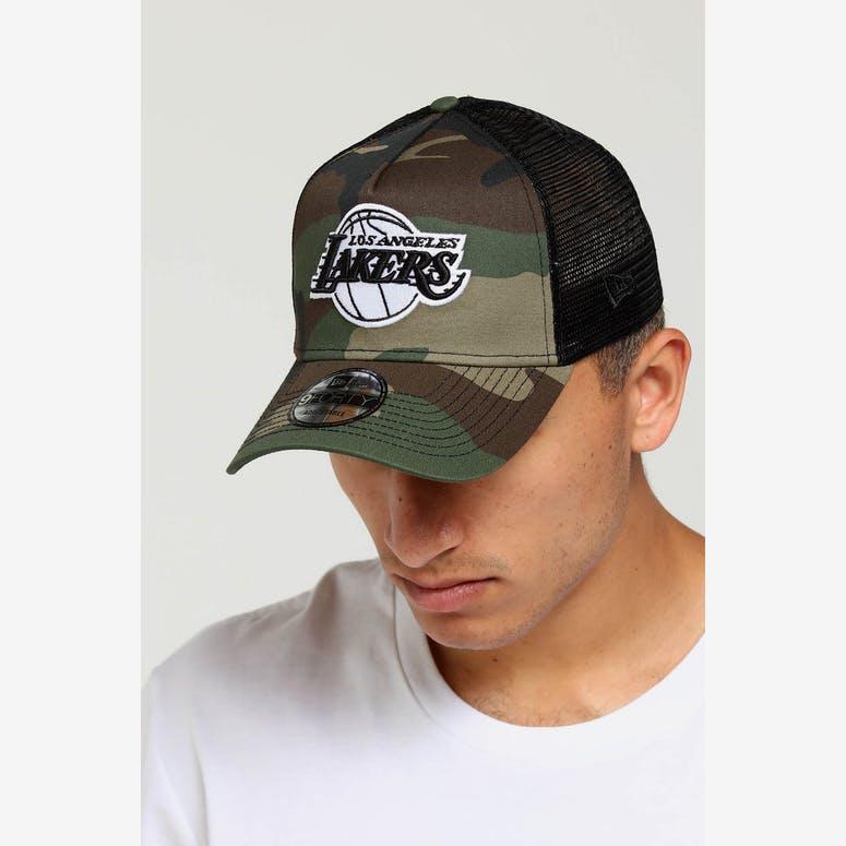 8975b5bc673 New Era Los Angeles Lakers CK 9FORTY A-Frame Trucker Snapback Camo Bla –  Culture Kings