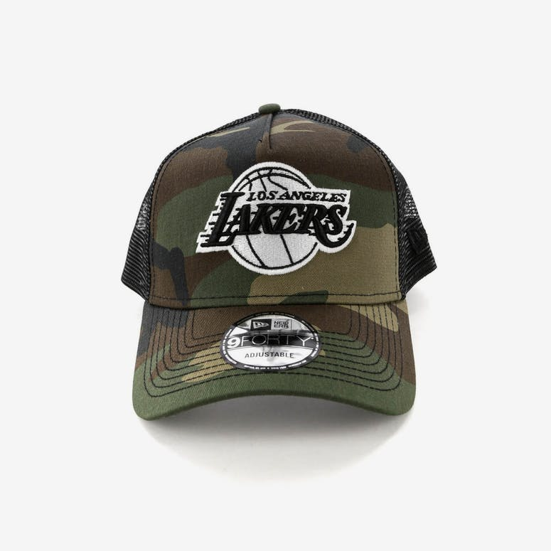 New Era Los Angeles Lakers CK 9FORTY A-Frame Trucker Snapback Camo Black ab92a01a79af