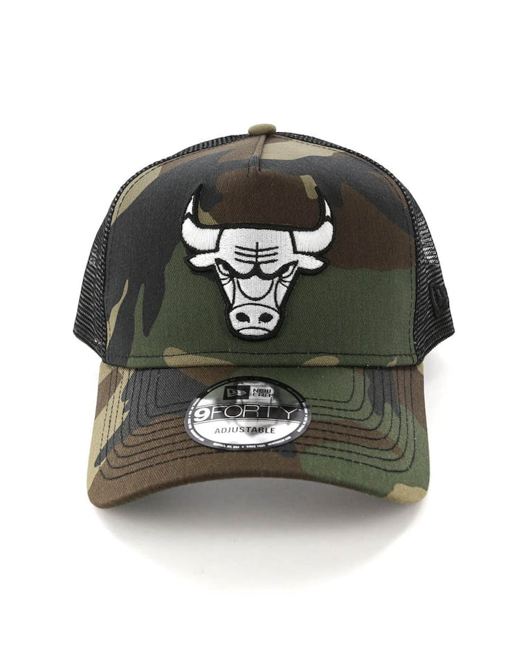 fb094ab3ae1 New Era Chicago Bulls CK 9FORTY A-Frame Trucker Snapback Camo Black ...