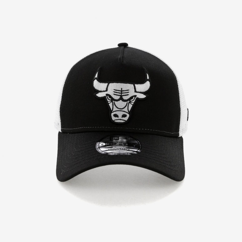 e97398522cd New Era Chicago Bulls 9FORTY A-Frame Trucker Snapback Black White ...