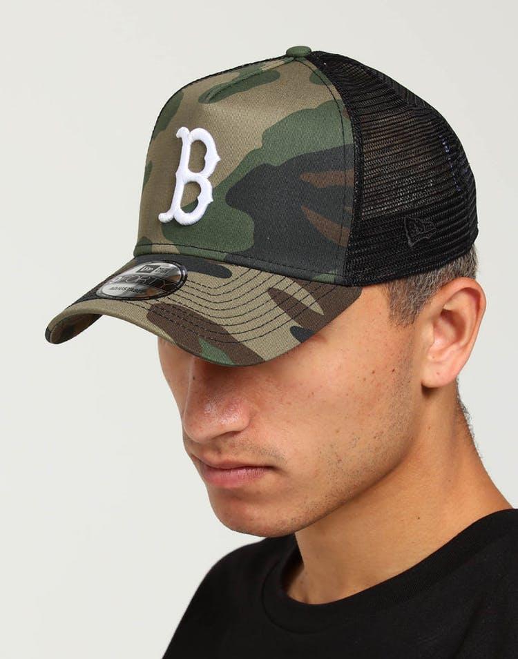 best website dbfd7 183bb New Era Boston Red Sox CK 9FORTY A-Frame Trucker Snapback Camo Black – Culture  Kings