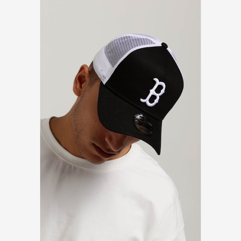 ac347d7bd7f New Era Boston Red Sox 9FORTY A-Frame Trucker Snapback Black White – Culture  Kings