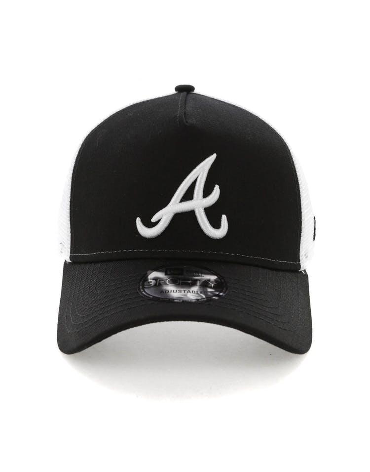 more photos 4a88a 9487e New Era Atlanta Braves 9FORTY A-Frame Trucker Snapback Black White