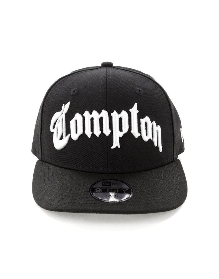 competitive price 1a9a0 942ef New Era Compton Kids 9FIFTY Precurved Black White – Culture Kings